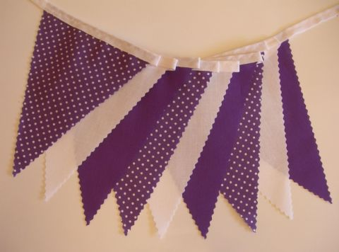 BUNTING - Purple, White & Purple with White Spot - 3m, 5m or 10m - Wedding